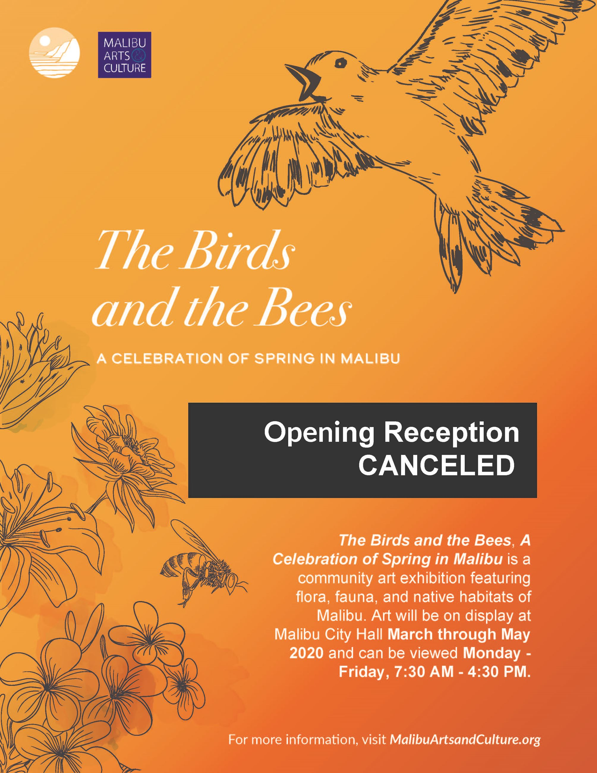 2020 Birds and Bees exhibition flyer CANCELED